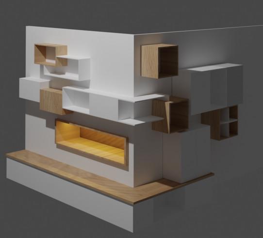 Modélisation 3D agencement salon - Mont de marsan